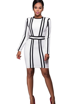 Ericdress Scoop Stripe Long Sleeve Bodycon Dress