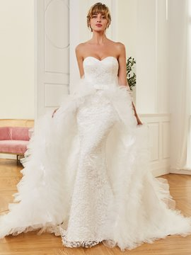 Ericdress Sweetheart Tulle Watteau Train Lace Wedding Dress