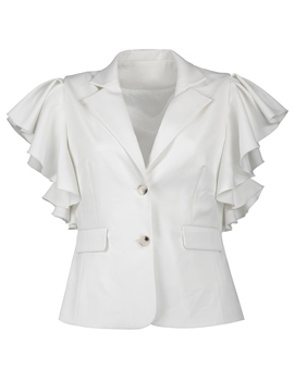 Ericdress Plus-Size Ruffle Sleeve Plain Blazer
