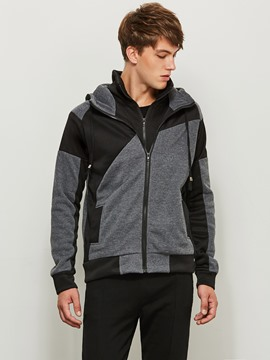 Ericdress Patchwork Color Block Zipper Men's Hoodie