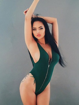 Ericdress Sexy Zipper Plain Monokini
