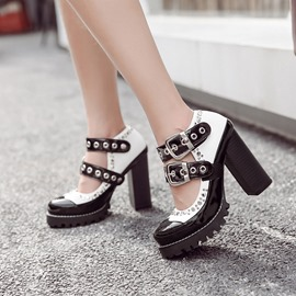Ericdress Hollow Rivet Platform Chunky Heel Pumps