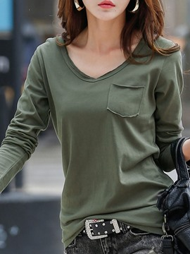 Ericdress V-Neck Plain Standard T-shirt