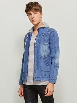 Ericdress Hooded Patchwork Color Block Zipper Men's Denim Jacket