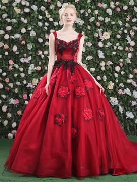 Ericdress Straps Ball Gown Appliques Beaded Flowers Quinceanera Dress