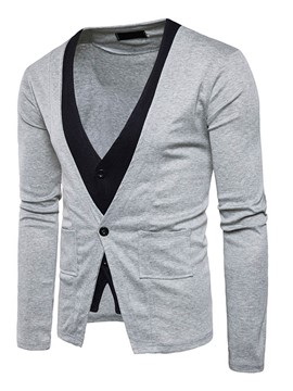 Ericdress Color Block Double-Layer V-Neck Casual Men's Knitwear