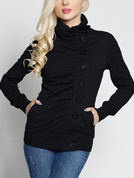 Ericdress Plain Turtleneck Single-Breasted Cool Hoodie
