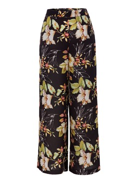Loose Floral Print Wide Legs Women's Pants
