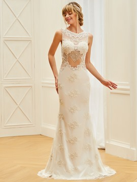 Ericdress Scoop Sheath Beaded Backless Wedding Dress