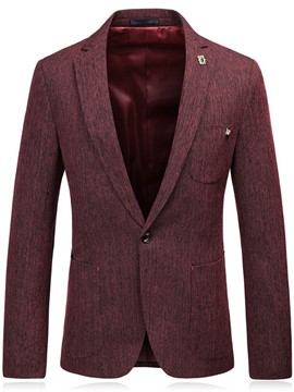 Ericdress Notched Lapel Solid Color Slim One Button Men's Blazer