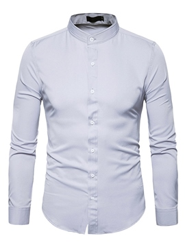 Ericdress Plain Stand Collar Long Sleeve Men's Dress Shirt