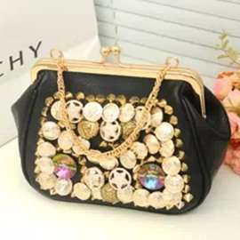 Ericdress Punk Style Button Rhinestone Adornment Clutch