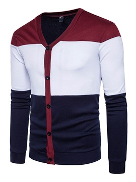 Ericdress Color Block Single-Breasted Men's Knitwear