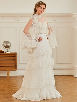 Ericdress High Neck A Line Appliques Beaded Tulle Wedding Dress