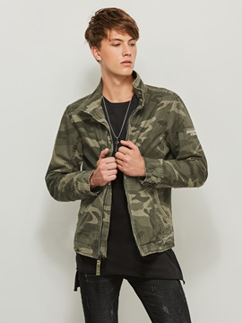 Ericdress Stand Collar Slim Camouflage Print Men's Jacket