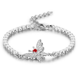 MarkChic Butterfly Ruby Inlay Women's Bracelet