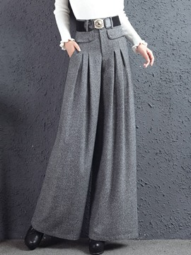 Ericdress High-Waist Button Pocket Wide Legs Pants