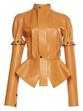 Ericdress Slim Plain Ruffles Button Jacket