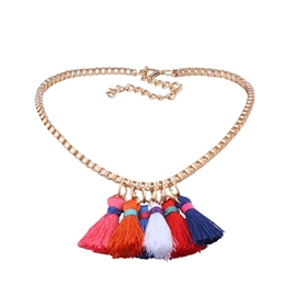 Ericdress Colorful Rope Tassel Chic Women's Necklace