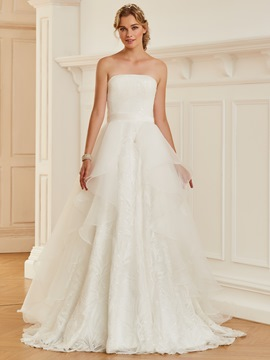 Ericdress Strapless Sequins Ball Gown Organza Wedding Dress