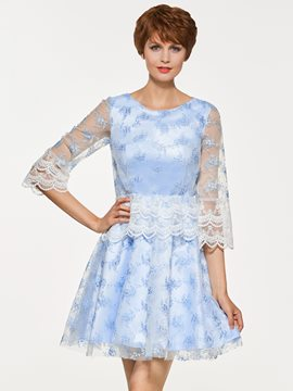 Ericdress Scoop A Line Lace Short Sleeves Lace Mother Of The Bride Dress