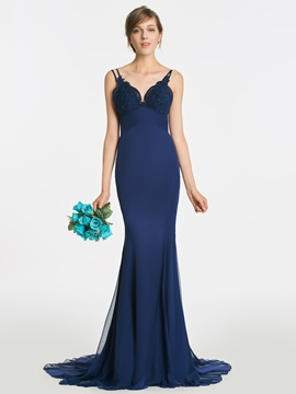 Ericdress Spaghetti Straps Appliques Mermaid Backless Bridesmaid Dress