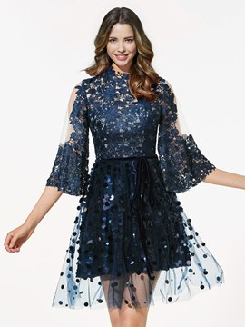 Ericdress a-line manches longues scoop lace sequins robe de cocktail courte