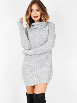Ericdress Above Knee Long Sleeve Turtleneck Plain Regular Dress