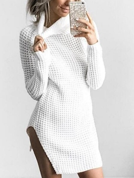 Ericdress Plain High Neck Thread Long Sleeve Sweater Dress