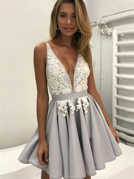 Ericdress Stylish A-Line Appliques V-Neck Homecoming Dress