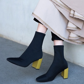 Ericdress Fashionable Color Block Slip-On High Heel Boots