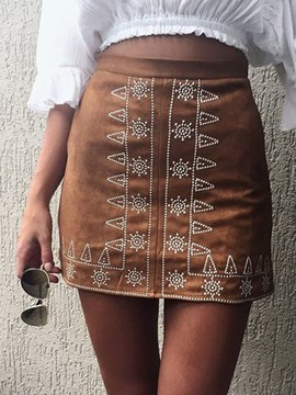 Ericdress Print High-Waist Zipper Mini Skirt