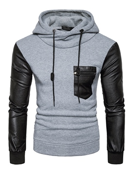 Ericdress PU Patched Vogue Casual Men's Hoodie