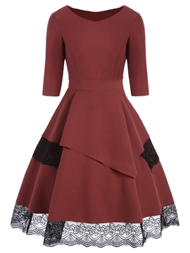 Ericdress Lace Patchwork Color Block A Line Dress