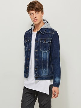 Ericdress Patchwork Hooded Color Block Pocket Men's Denim Jacket
