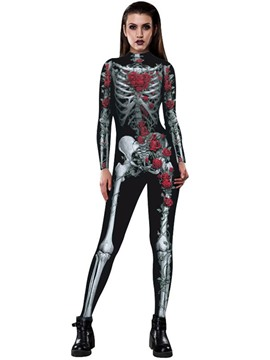 Ericdress Halloween Skull Floral Jumpsuits Pants