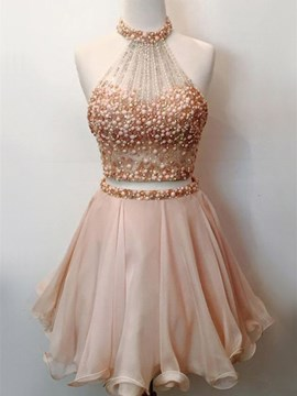 Ericdress A Line Two Pieces Beaded Crop Top Homecoming Dress
