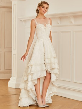 Ericdress Illusion Neckline Appliques High Low Wedding Dress