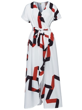 Ericdress V-Neck Geometric Pattern Lace-Up Maxi Dress
