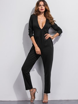 Ericdress V-Neck Plain Long Sleeve Jumpsuits Pants
