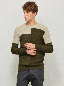 Ericdress Patchwork Color Block Round Neck Men's Sweater