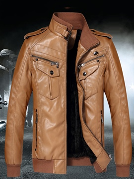 Ericdress Plain PU Leather Zip Stand Collar Vogue Slim Men's Jacket
