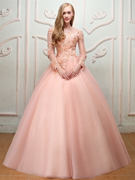 Ericdress Pearl Bateau Long Sleeve Ball Gown Quinceanera Dress 2019