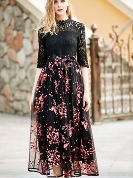 Ericdress Hollow Lace Lace-Up Bowknot Half Sleeve Maxi Dress