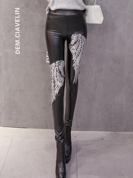 Ericdress High-Waist PU Wings Leggings Pants