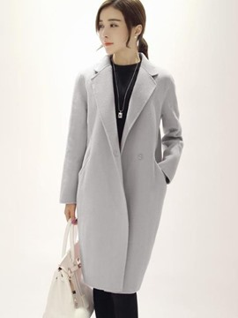 Ericdress Plain Notched Lapel Mid-Length Coat
