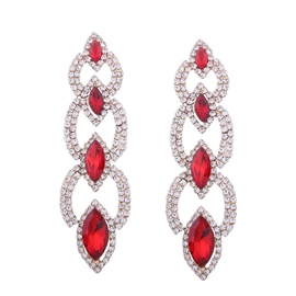 Ericdress Bicolor Rhinestone Marquise Cut Ruby Fashion Earring