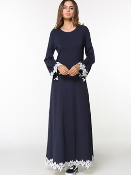 Ericdress Applique Long Sleeve Ankle-Length Maxi Dress