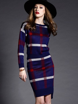 EricdressScoop Plaid Long Sleeves Leisure Suits