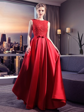 Ericdress A-Line Appliques Bowknot Floor-Length Long Evening Dress